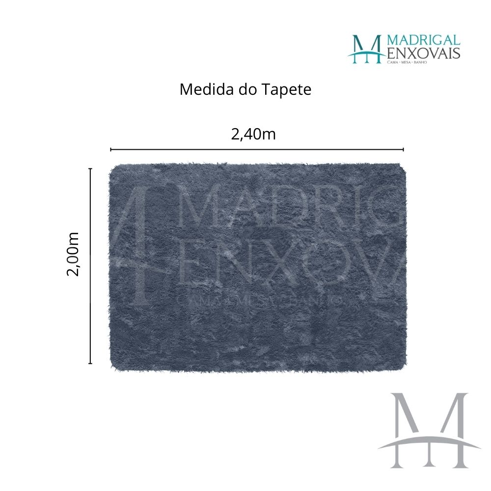 Tapete Jolitex Luxo Felpudo Pelo Alto 2,00x2,40m Cinza