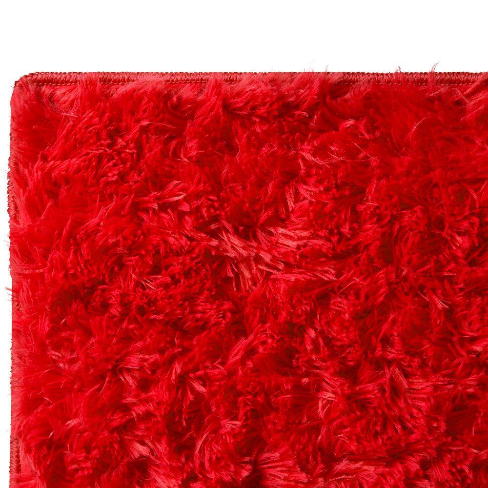 Tapete para Sala Quarto Jolitex Bella Pelo Alto 1,00x1,40m Vermelho