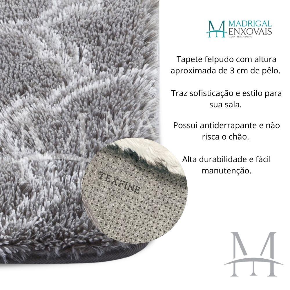 Tapete para Sala Quarto Mosaico Felpudo 1,40x2,00m Cinza