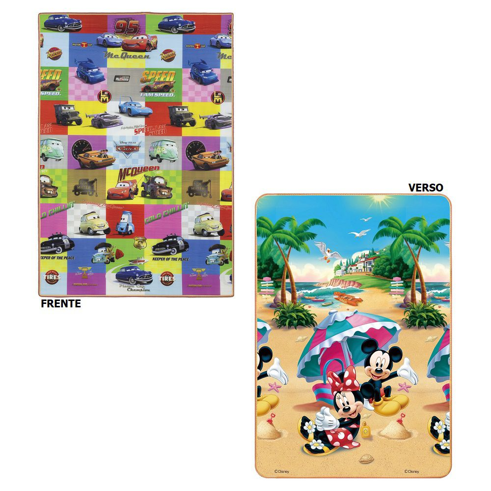 Tapete Recreio Jolitex Dupla Face 1,20x1,80m Carros e Mickey