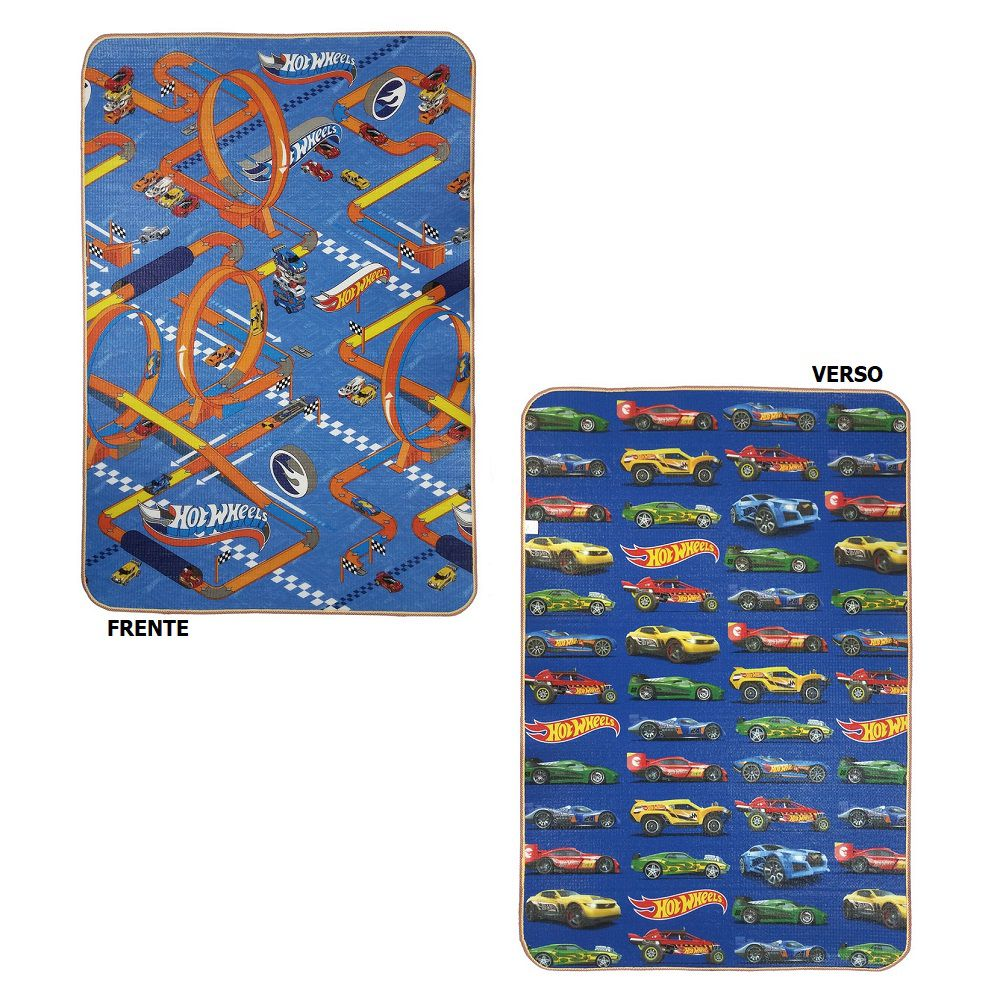 Tapete Recreio Jolitex Dupla Face 1,20x1,80m Hot Wheels