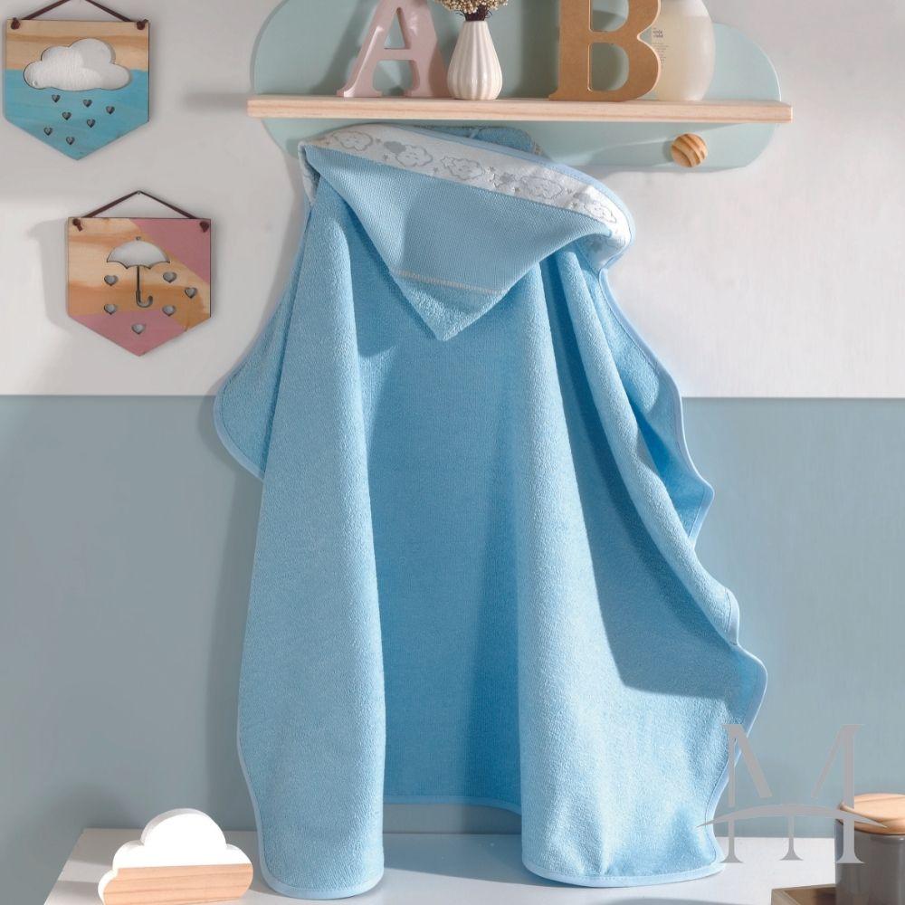 Toalha Banho Baby Kids Dohler com Capuz para Bordar Azul