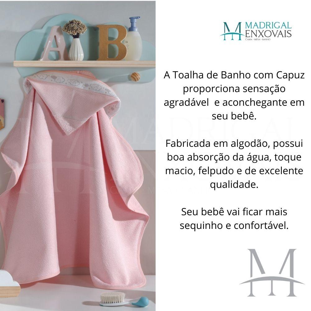 Toalha Banho Baby Kids Dohler com Capuz para Bordar Rosa