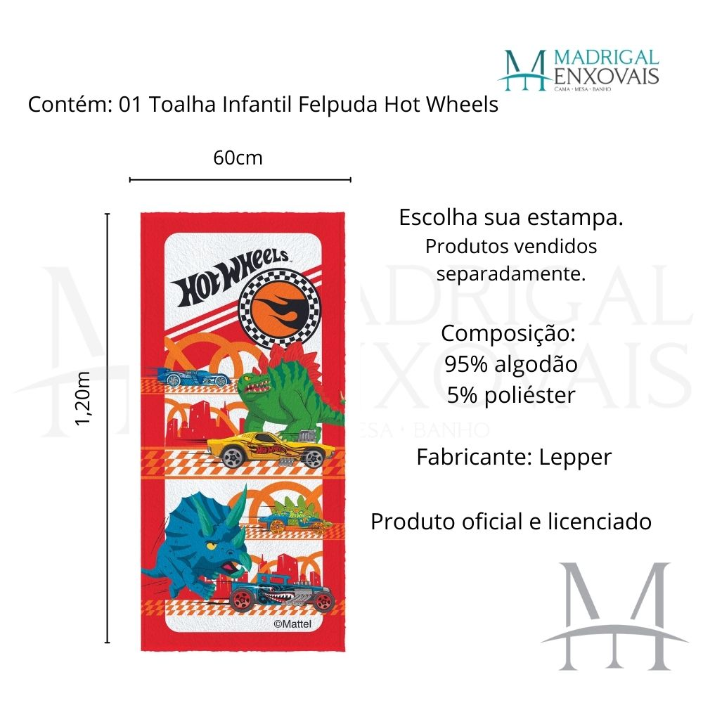 Toalha Banho Infantil Lepper Hot Wheels Felpuda 0,60x1,20m