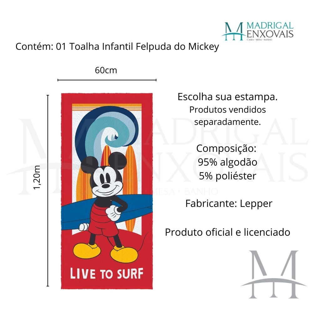 Toalha Banho Infantil Lepper Mickey Felpuda 0,60x1,20m