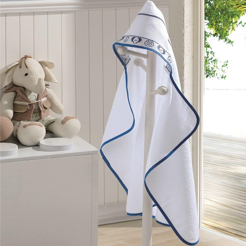 Toalha Banho Baby Kids com Capuz para Bordar Branco Azul Dohler