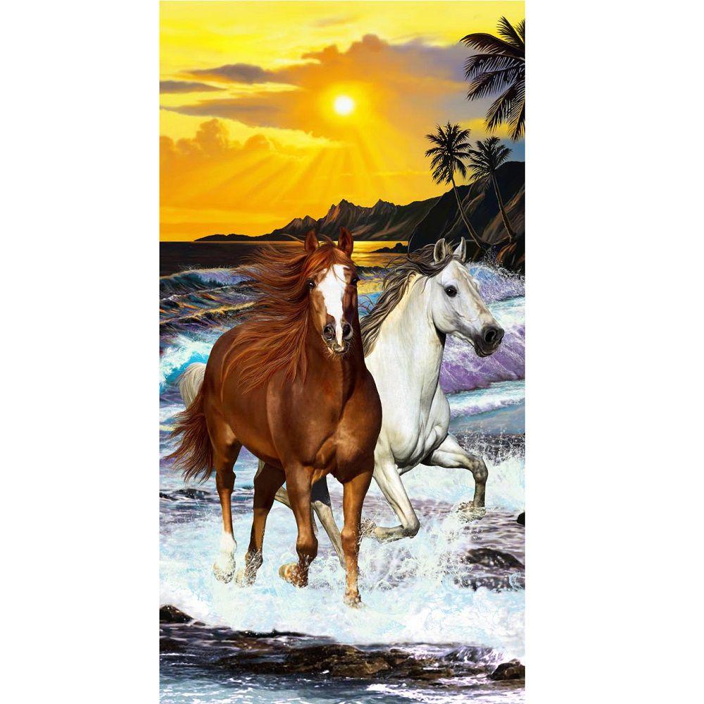 Toalha De Banho E Praia Cavalos Aveludada 0,76x1,52m Buettner