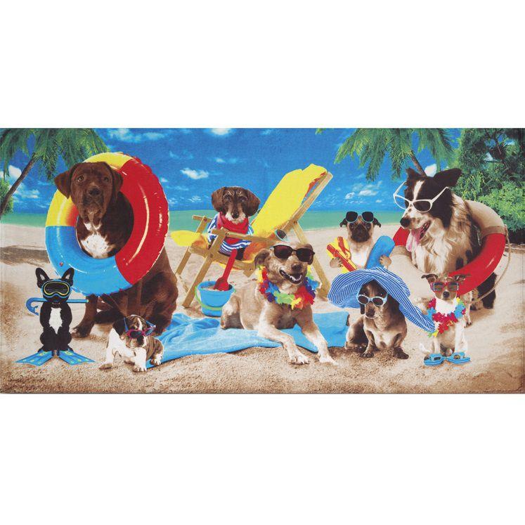 Toalha De Banho E Praia Dogs at the Beach Aveludada 0,76x1,52m Dohler
