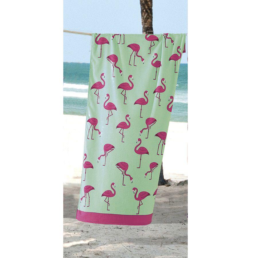 Toalha De Banho E Praia Flamingos Aveludada 0,76x1,52m Dohler