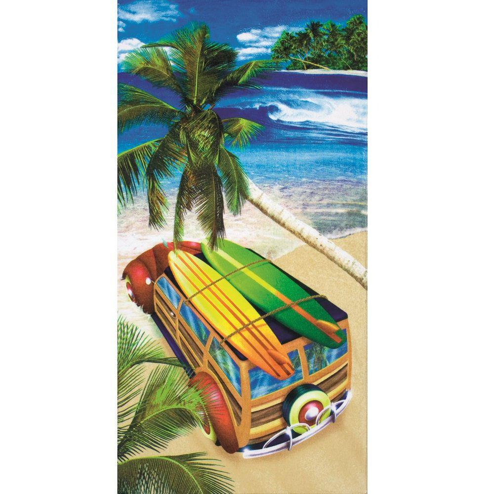 Toalha De Banho E Praia Surf Aveludada 0,76x1,52m Dohler