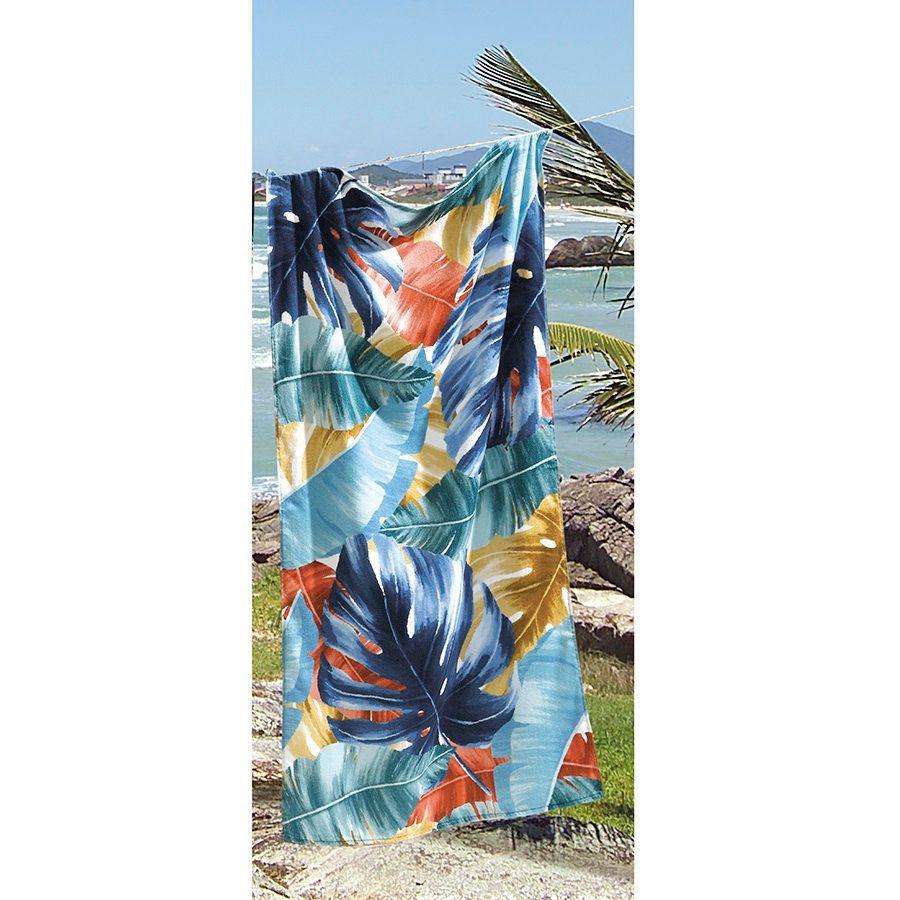 Toalha De Banho E Praia Tropical Aveludada 0,76x1,52m Dohler