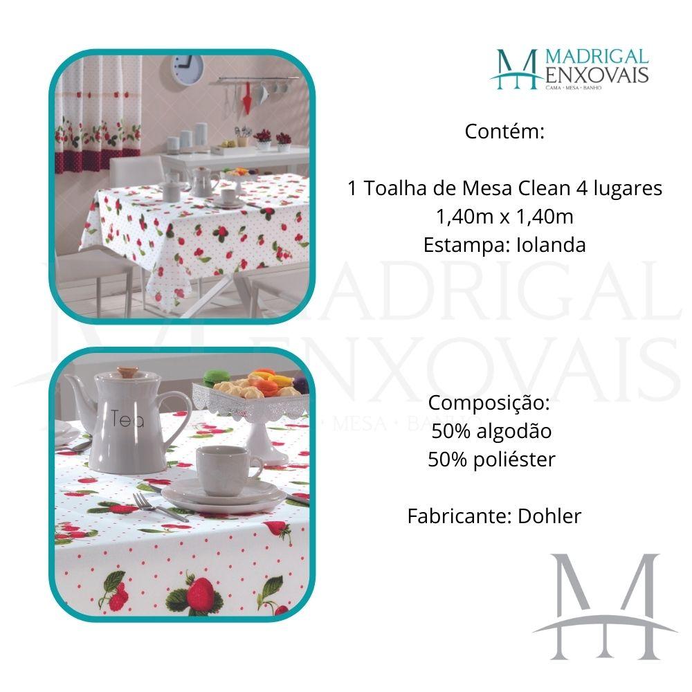 Toalha De Mesa Dohler Clean Limpa Fácil Athenas 1,40x1,40m Iolanda