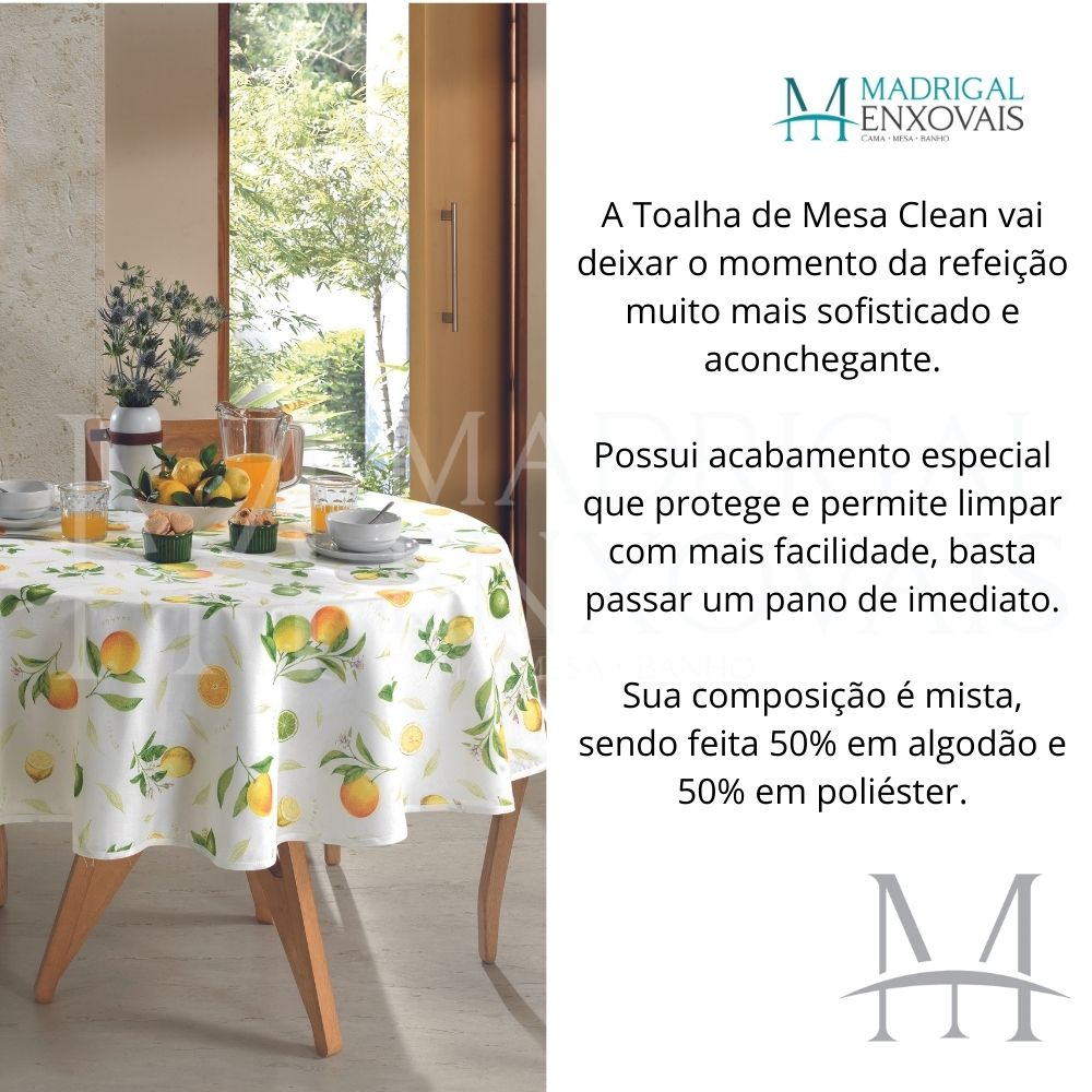 Toalha De Mesa Dohler Limpa Fácil Athenas 1,60m Redonda Isa