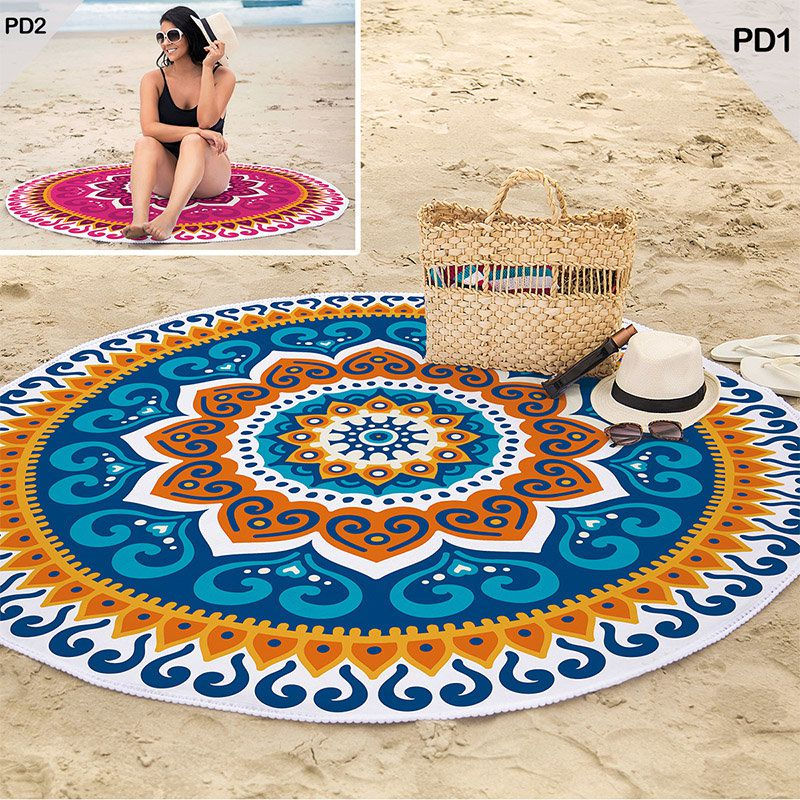 Toalha de Praia Redonda Aveludada Mandala Azul 1,55m Lepper
