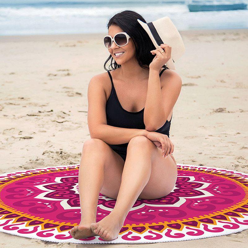Toalha de Praia Redonda Aveludada Mandala Rosa 1,55m Lepper