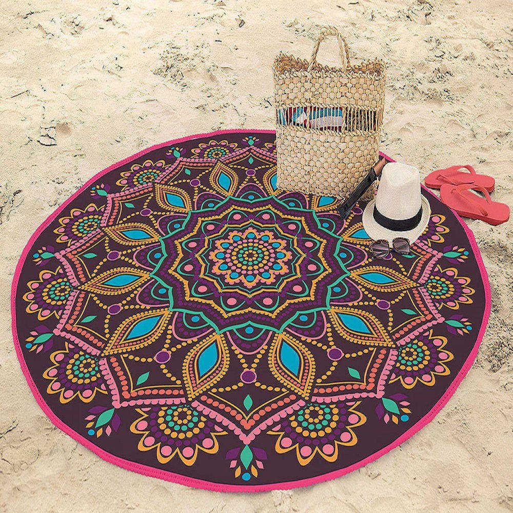 Toalha de Praia Redonda Aveludada Mandala Verão 1,55m Lepper