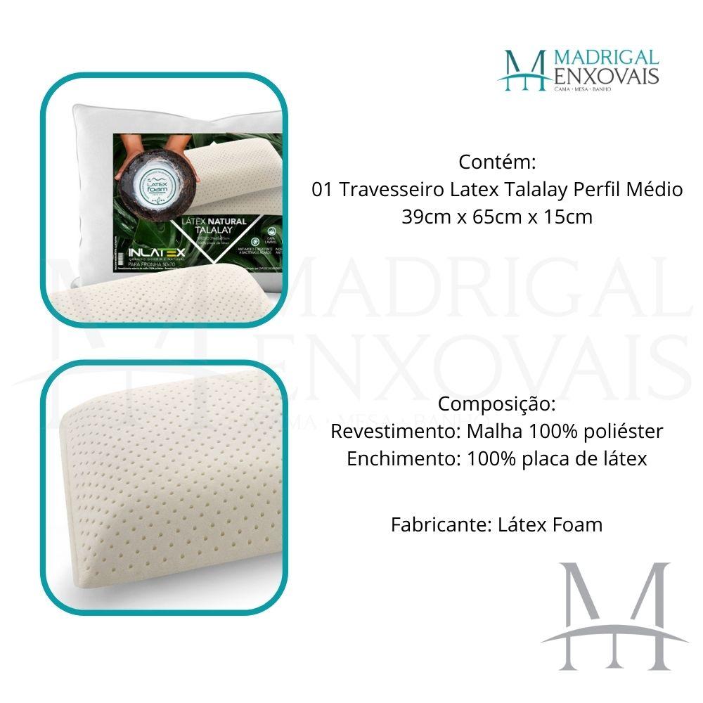 Travesseiro 100% Látex Natural Talalay Latexfoam Médio 15cm