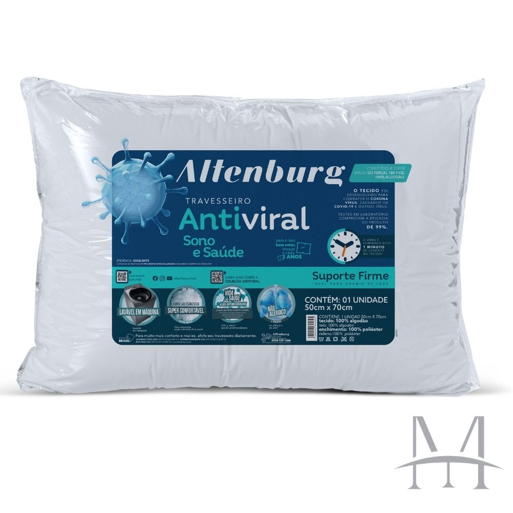 Travesseiro Altenburg Antiviral Suporte Firme Algodão 180 Fios