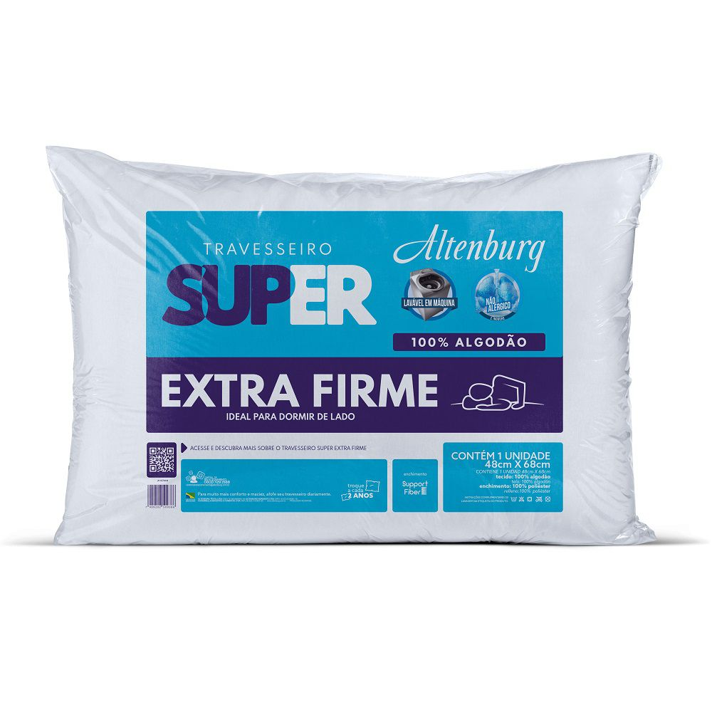Travesseiro Altenburg Super Suporte Extra Firme 0,48x0,68m Algodão