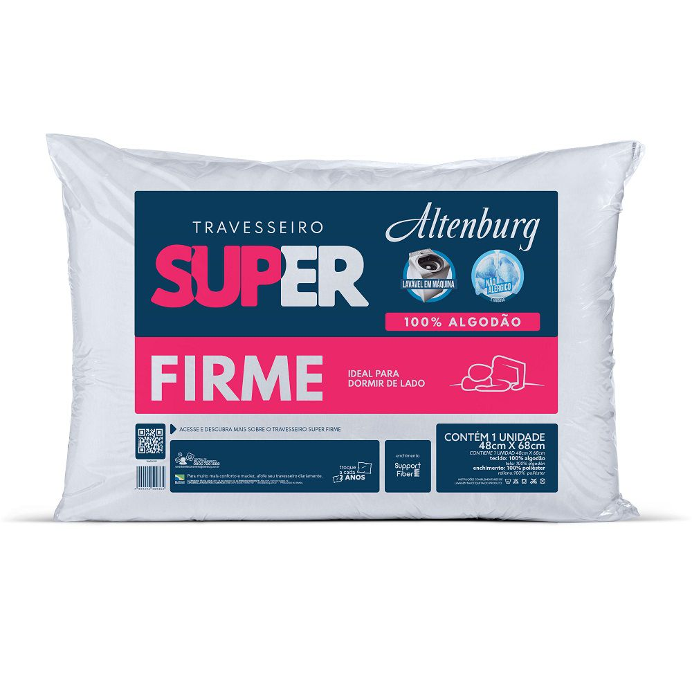 Travesseiro Altenburg Super Suporte Firme 0,48x0,68m Algodão