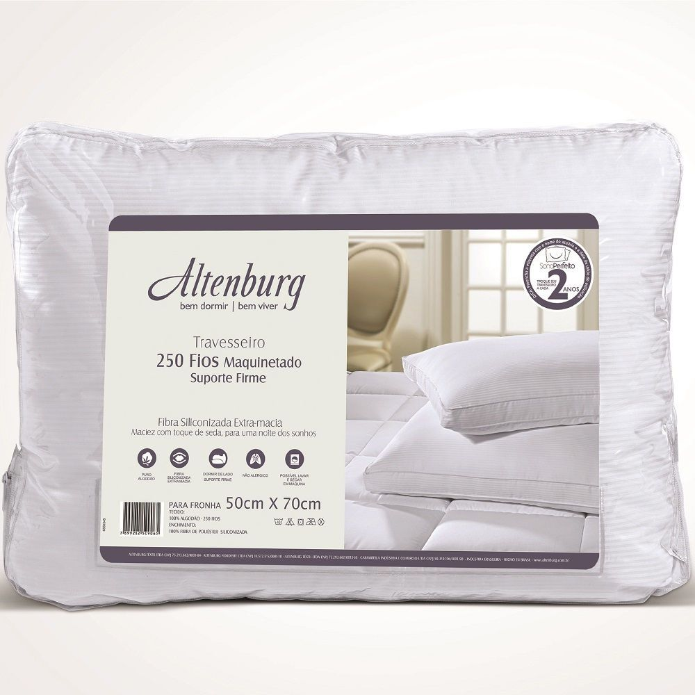 Travesseiro Altenburg Suporte Firme 250 Fios Fibra Siliconizada