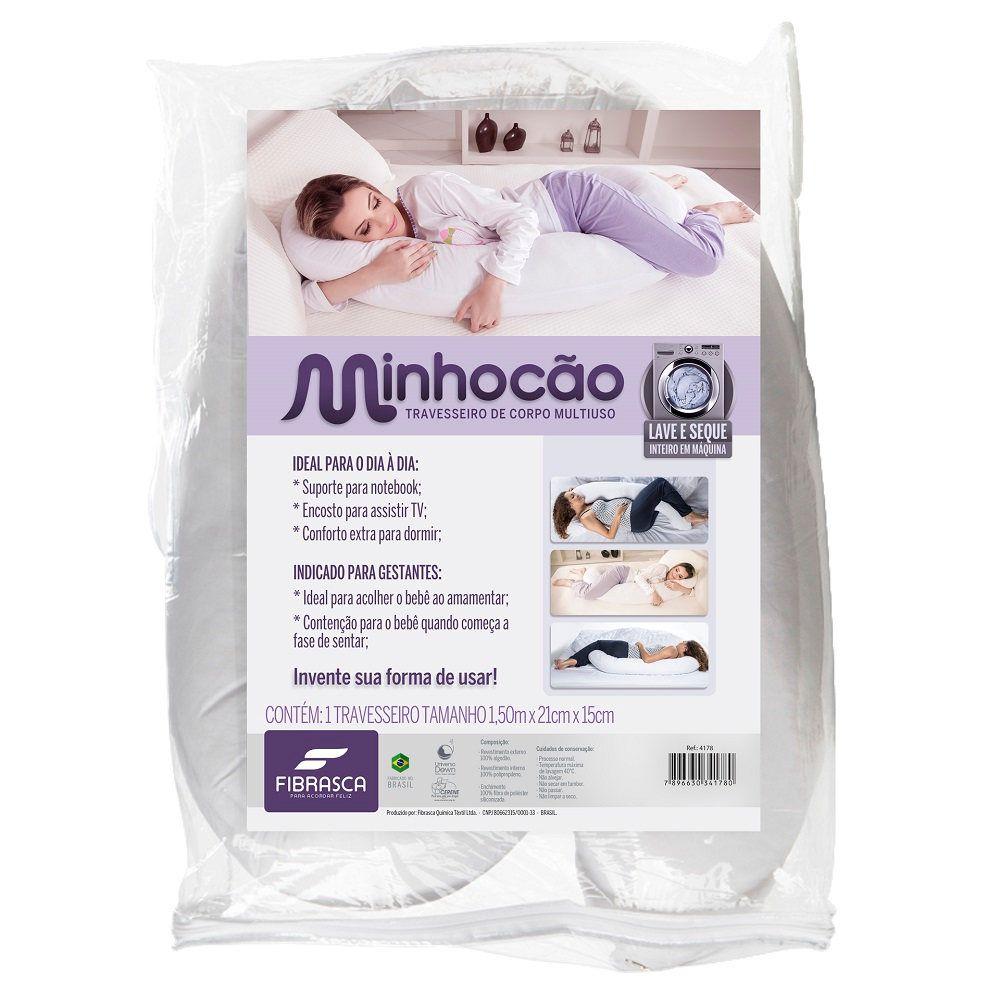 Travesseiro de Corpo Minhocão Multiuso Capa c/ Zíper Fibrasca