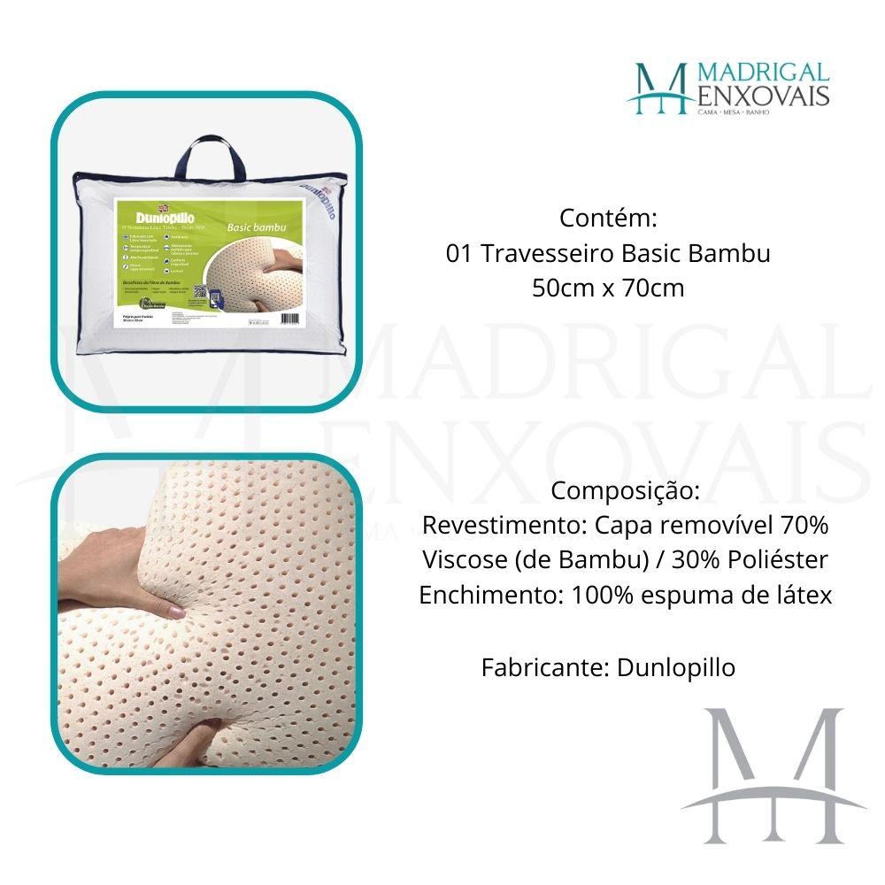 Travesseiro Dunlopillo Basic Bambu 100% Látex Talalay 15cm