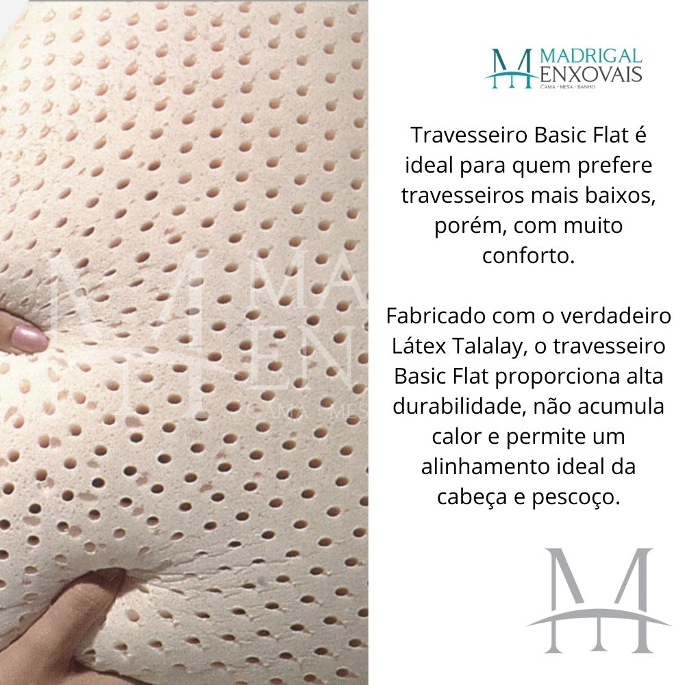 Travesseiro Dunlopillo Basic Flat 100% Látex Talalay 12cm