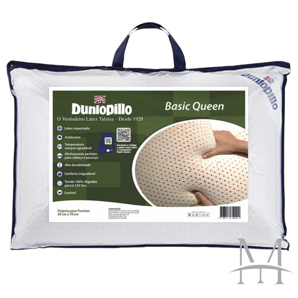 Travesseiro Dunlopillo Basic Queen 100% Látex Talalay 15cm