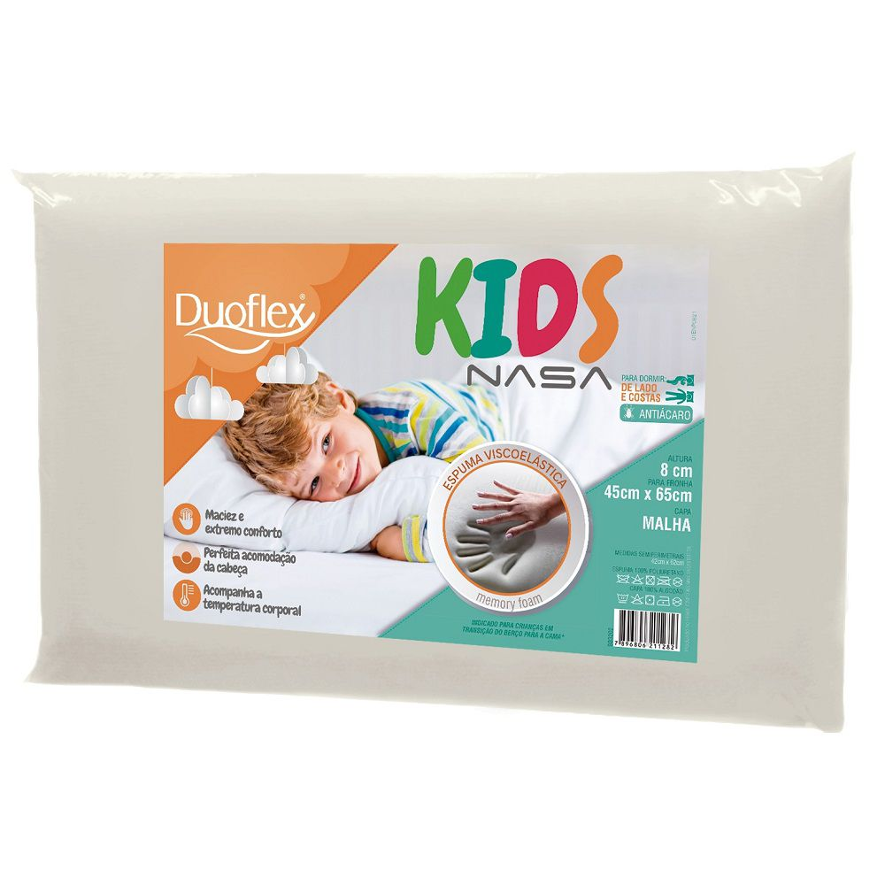 Travesseiro Duoflex Nasa Kids Viscoelástico 45x65x8cm BB3202