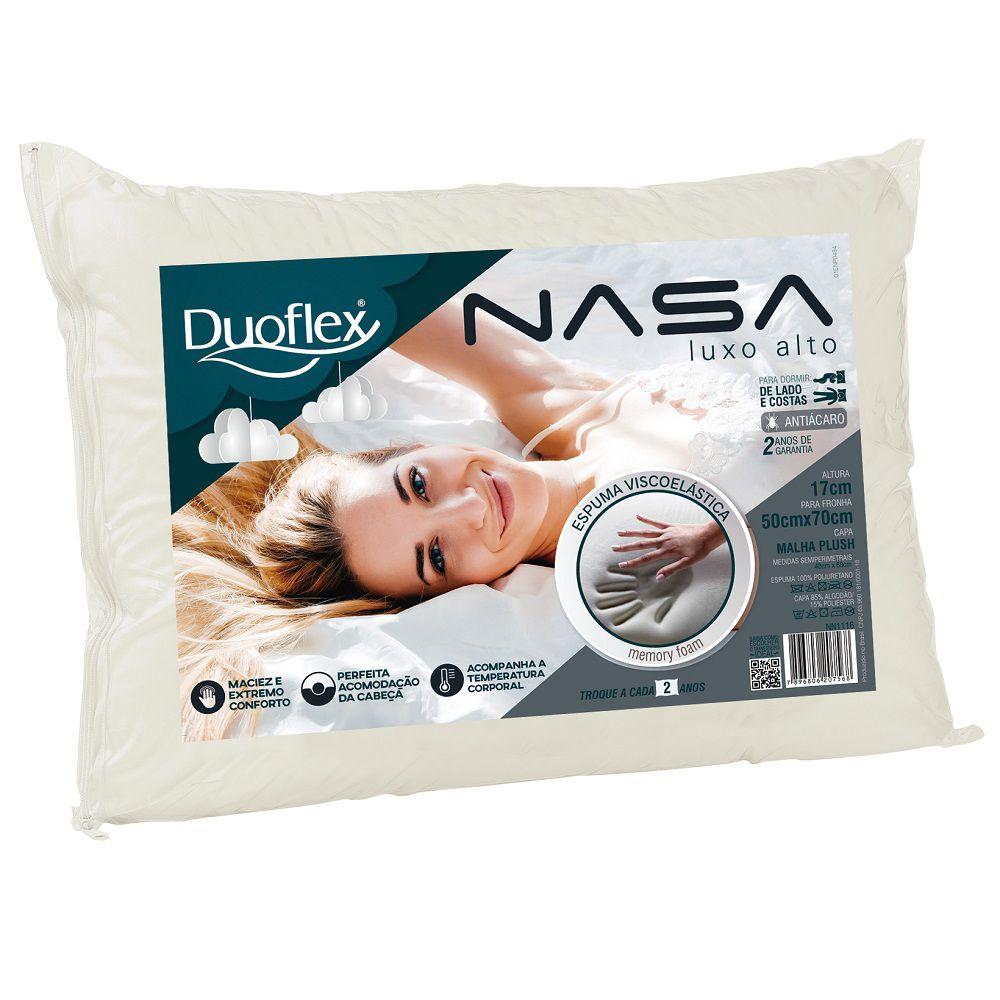 Travesseiro Duoflex Nasa Viscoelástico Alto Luxo 50x70x17cm - NN1116