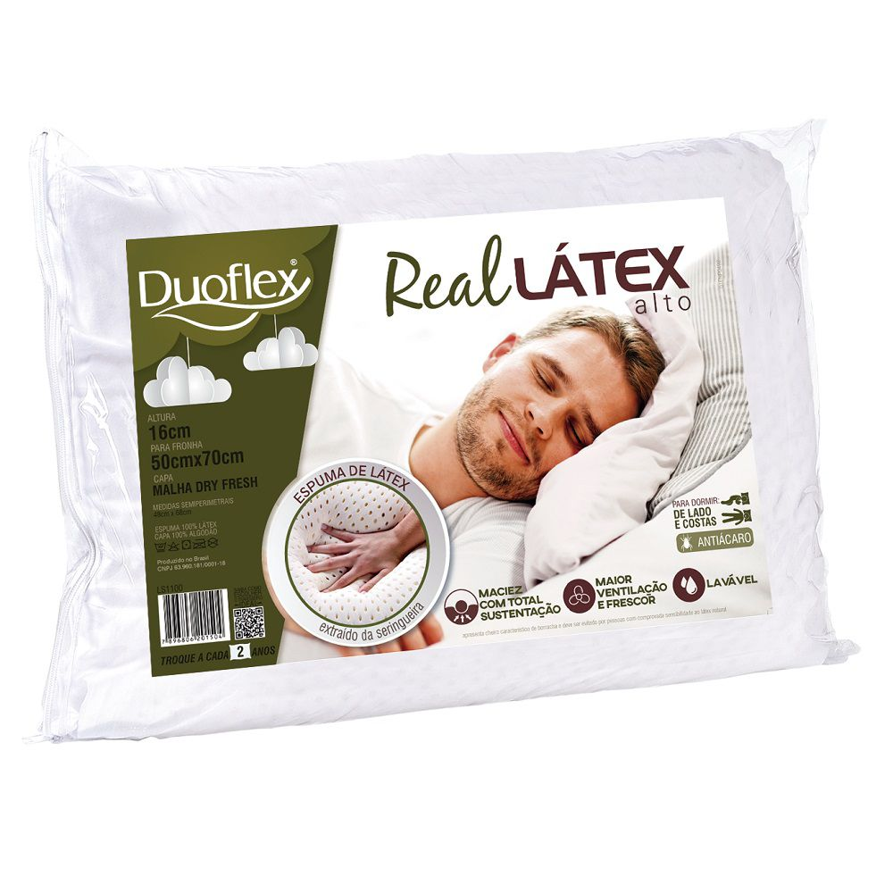 Travesseiro Duoflex Real Látex Capa Dry Fresh 50x70x16cm