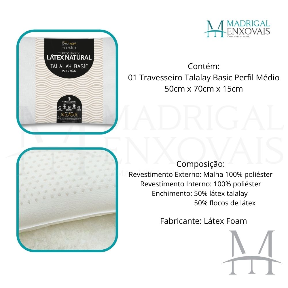 Travesseiro Látex Natural Talalay Basic Latexfoam Médio 15cm
