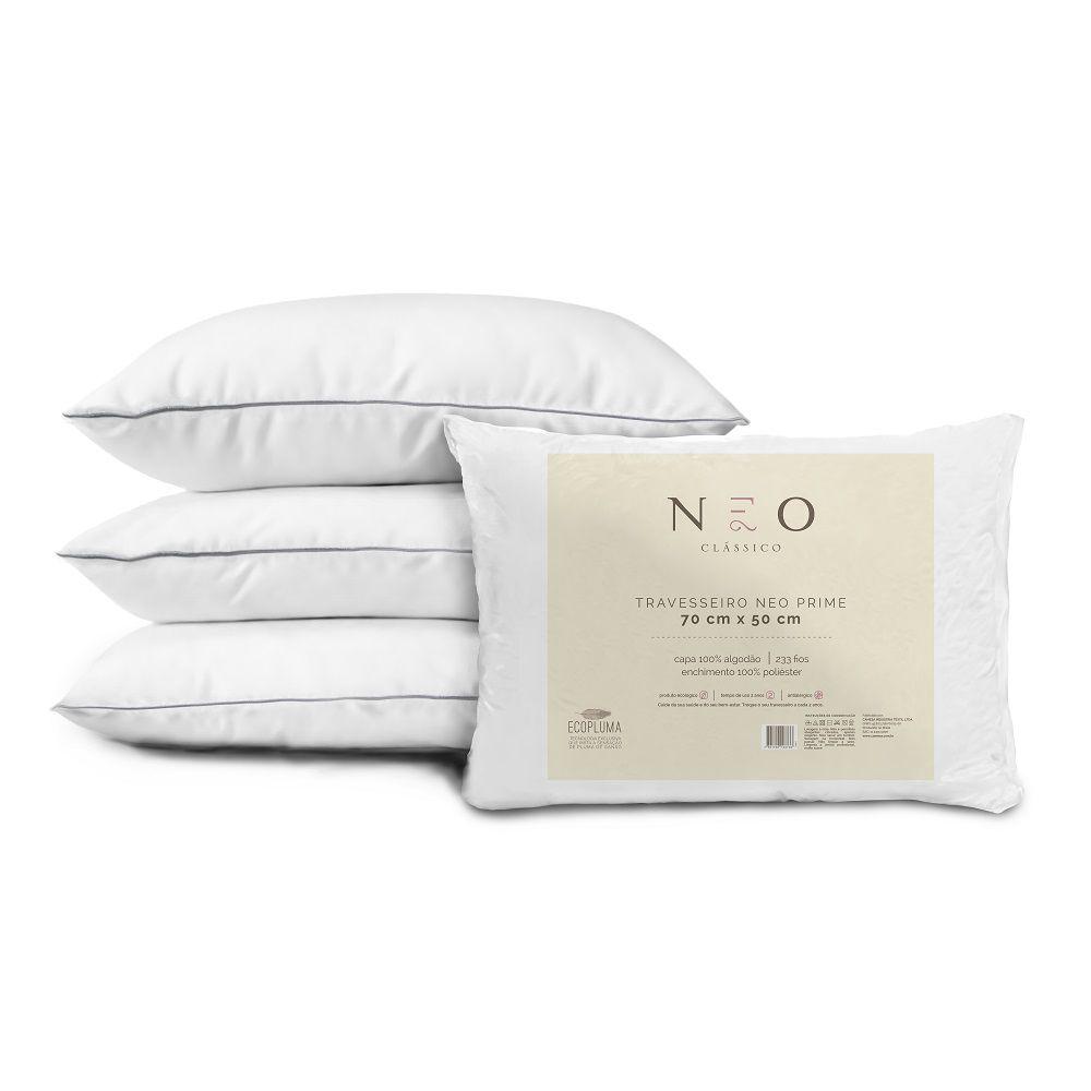 Travesseiro Neo Prime Ecopluma 100% Algodão 233 Fios 50x70cm