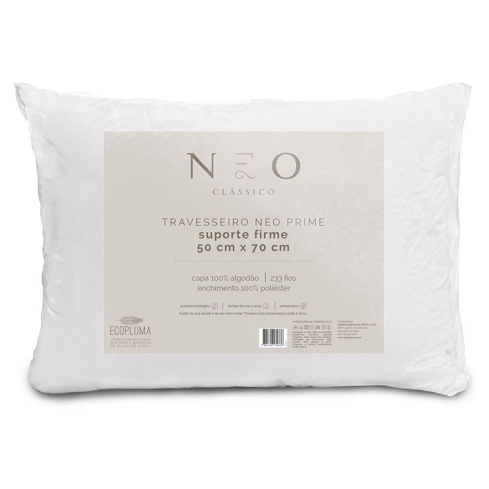 Travesseiro Neo Prime Ecopluma 100% Algodão 233 Fios Firme