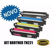 KIT TN 221 -TONER COMP. Brother BK/MG/CYAN/YELLOW | HL3140 HL3170 DCP9020 MFC9130 MFC9330 | Premium 2.5k