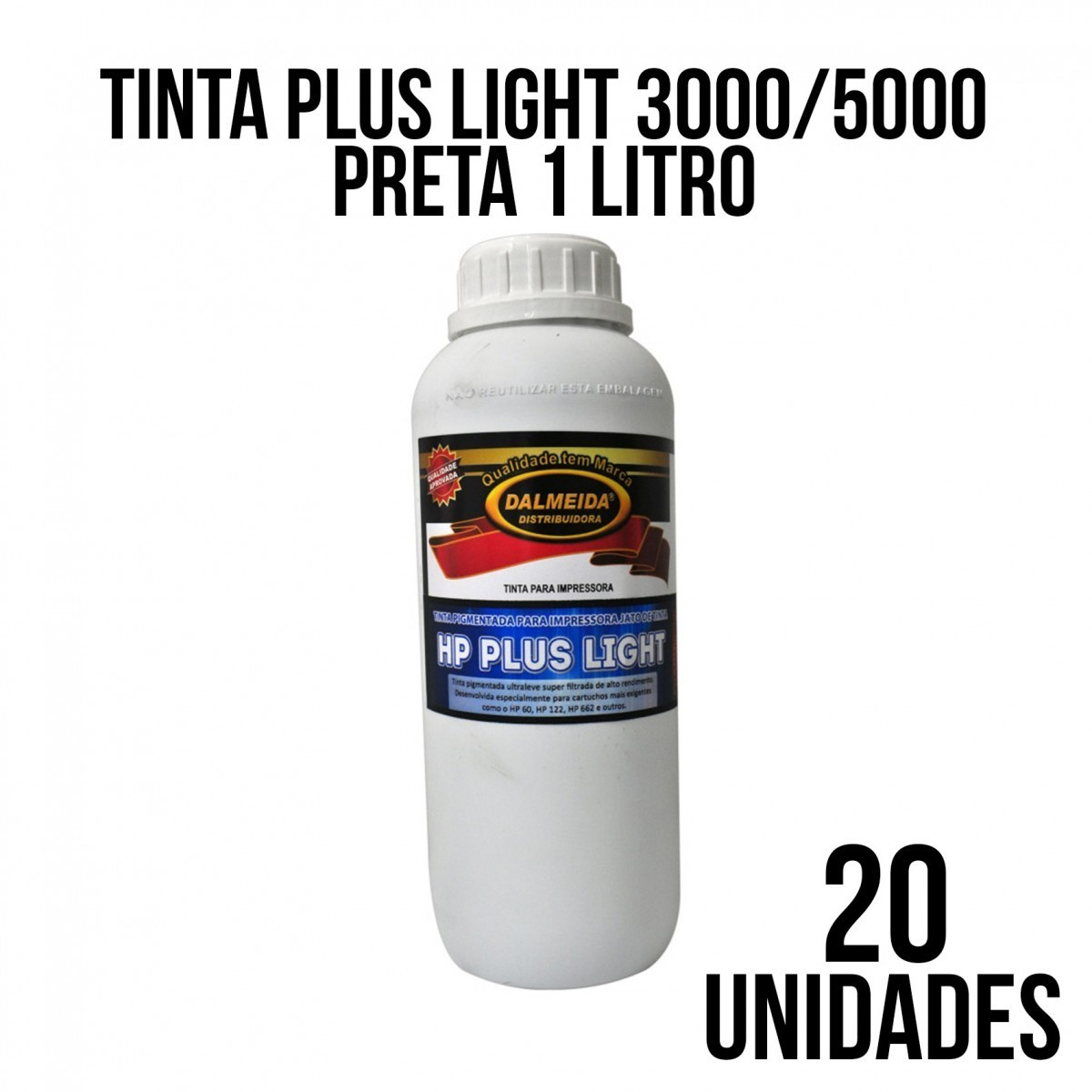 TINTA PLUS LIGHT 3000/5000 PRETA -COMBO COM 20 UNIDADES