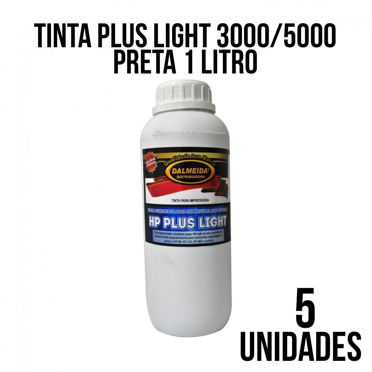 TINTA PLUS LIGHT 3000/5000 PRETA - COMBO COM 5 UNIDADES