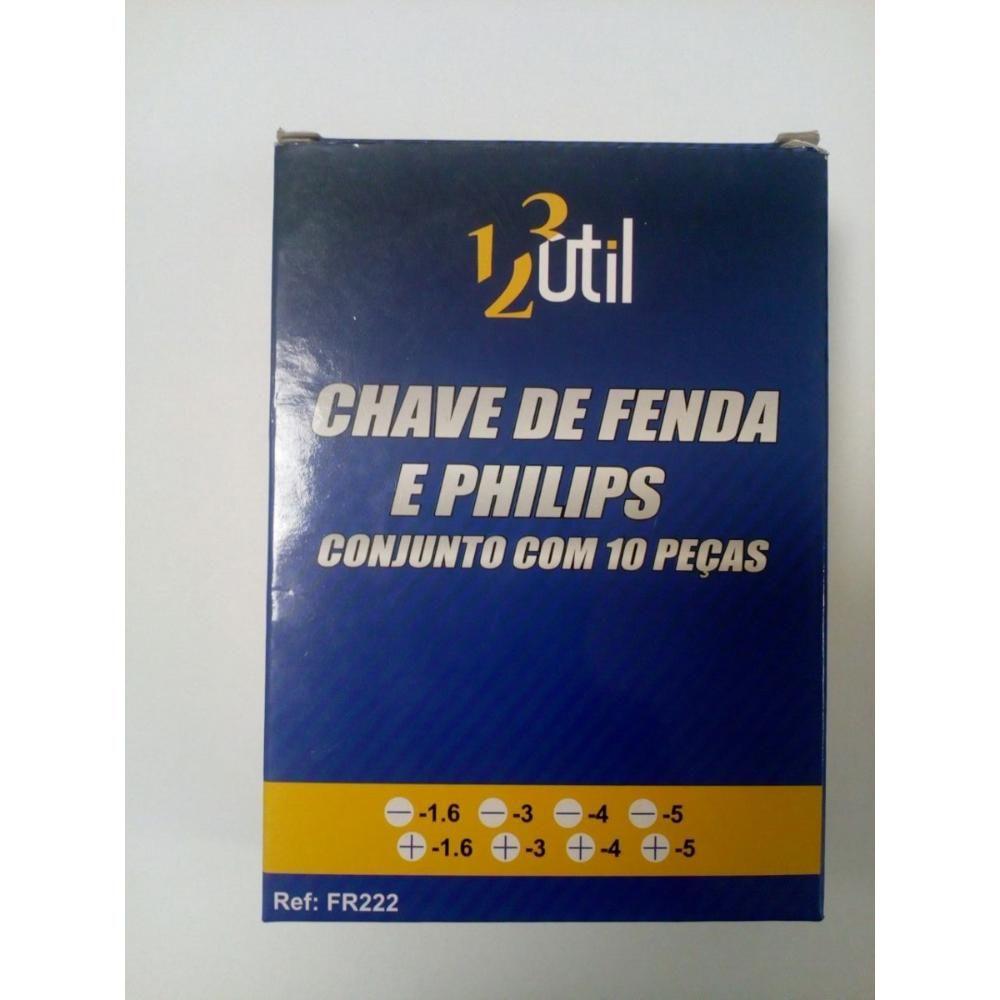 JOGO CHAVE DE FENDA E PHILIPS COM 10 PEÇAS