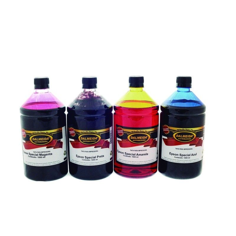 Tinta Epson  L395 L375 L365 L220 L455 L355 L800 KIT COM AS 4 CORES