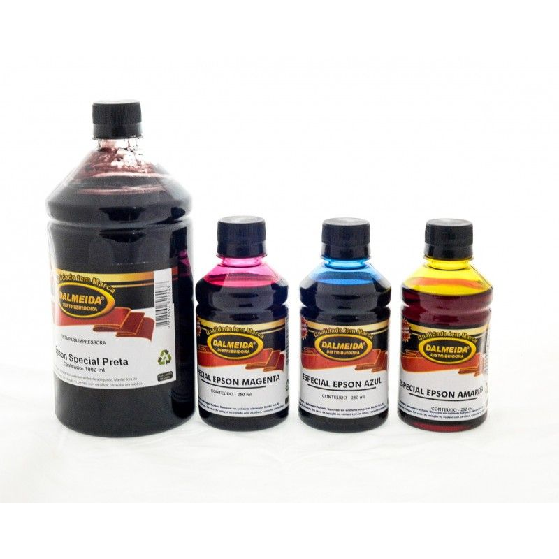 Tinta Epson  L395 L375 L365 L220 L455 L355 L800 KIT 1 LITRO PRETO E 250 ML CADA COLORIDOS
