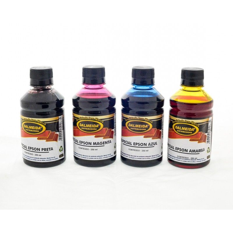 Tinta Epson  L395 L375 L365 L220 L455 L355 L800 KIT COM AS 4 CORES 250ML CADA