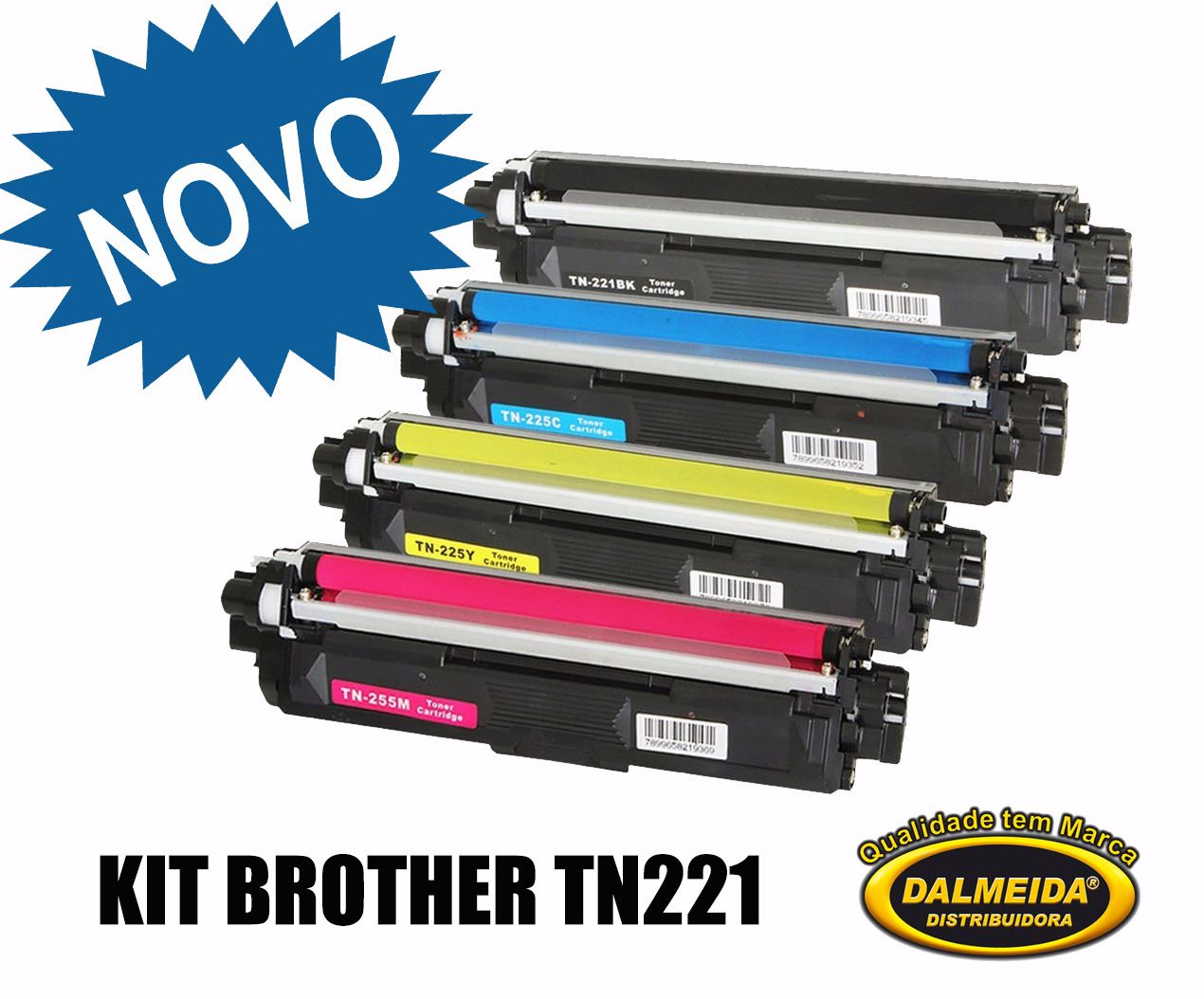 TONER BROTHER TN 221,KIT 4 CORES BK/MG/CYAN/YELLOW | HL3140 HL3170 DCP9020 MFC9130 MFC9330 | COMPATIVEL Premium 2.5k