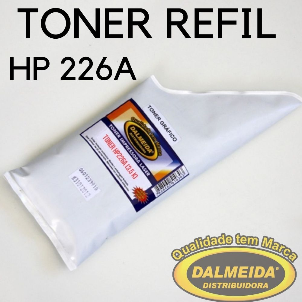 Toner HP  26A CF-226A CF-226 CF226AB Preto. Refil 150Gr Small Bag