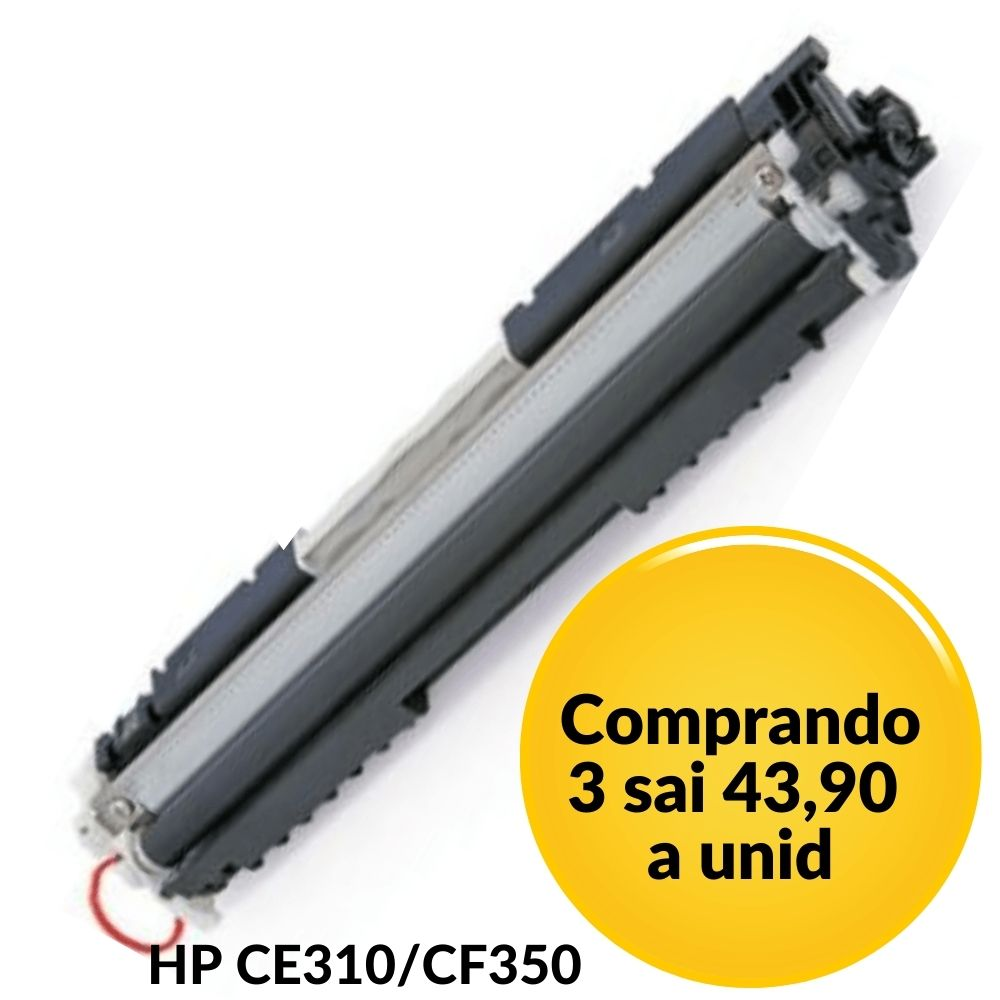Toner HP CE310A 126A Black | CF 350 M176 Preto Compatível CP 1020, CP 1020WN, CP 1025, CP 1025nw, M 175, M 175A, M 175NW, M-275 M177