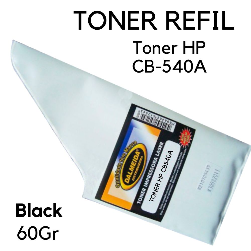 Toner Refil HP CB540A 540A Preto SMALL BAG | CP1215 CP1510 CP1515 CP1518 CM1312 BLACK G. BRILHANTE X M204A M205A