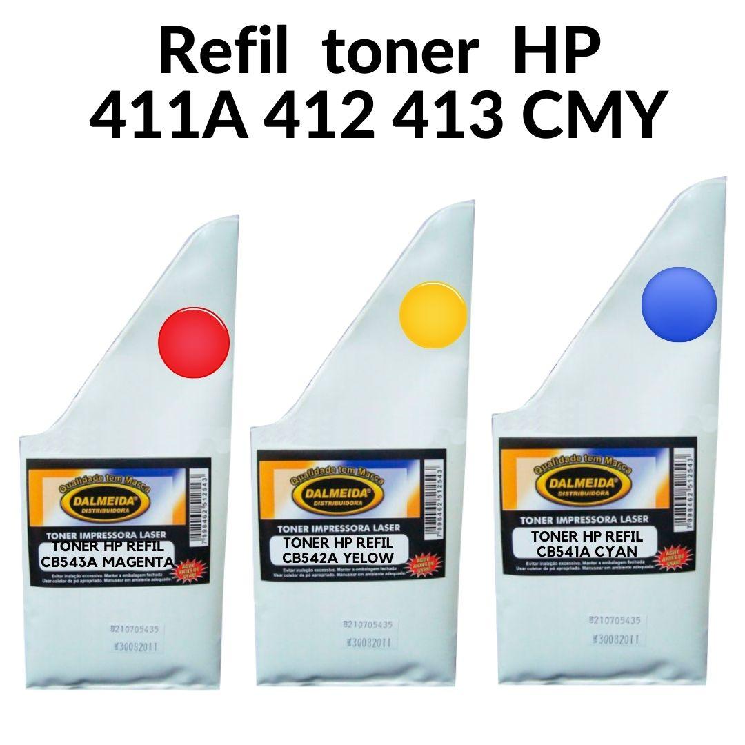 KIT Toner Refil HP CB541A, CB542A, CB543A SMALL BAG | CP1215 CP1510 CP1515 CP1518 CM1312 . BRILHANTE X M204A M205AHP 411/412/413 - 531/532/533 - 311/312/313 - 211/212/213 - 321/323/323 - 541/542/543