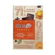 Chocolate com Cúrcuma, Pimenta Preta e Laranja 71% Cacau Chocolife Senses 25g