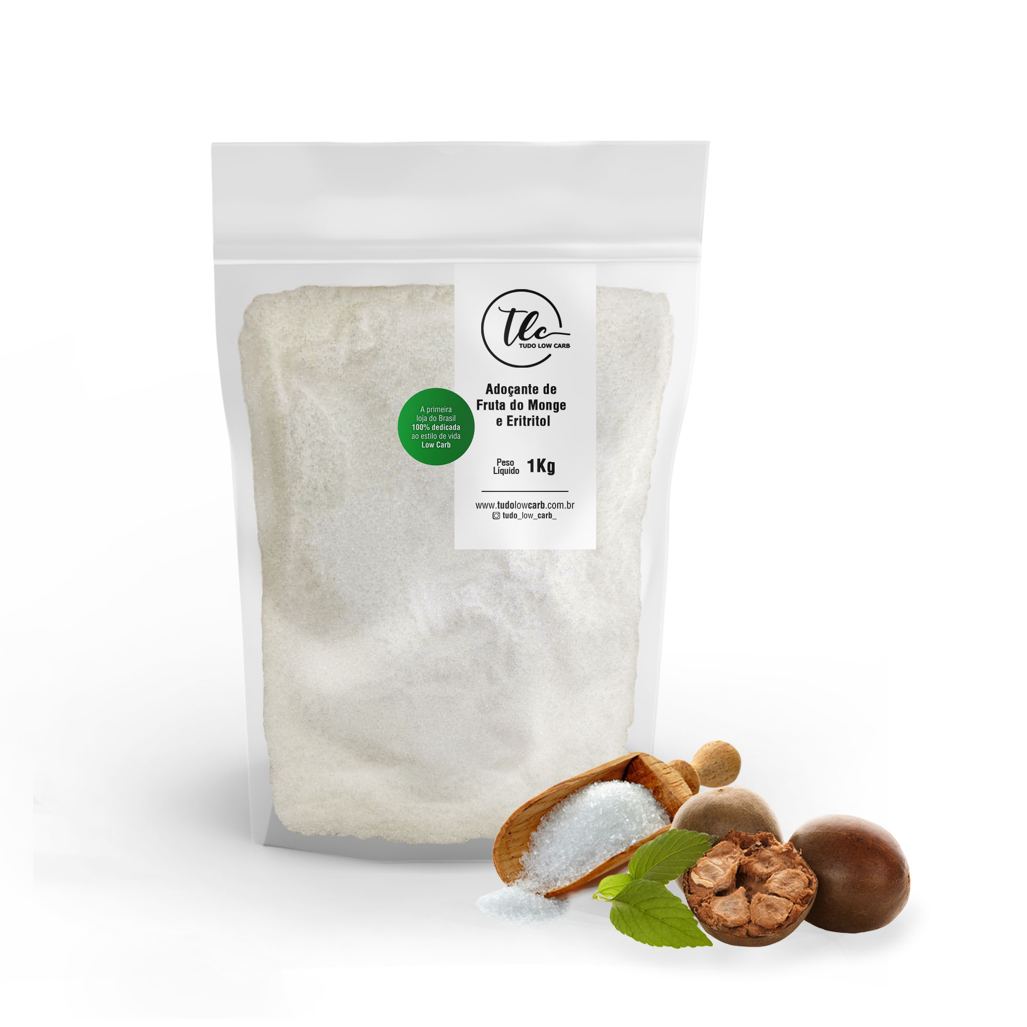 Adoçante de Fruta do Monge e Eritritol (Monk Fruit + Erythritol) 1 kg  - TLC Tudo Low Carb
