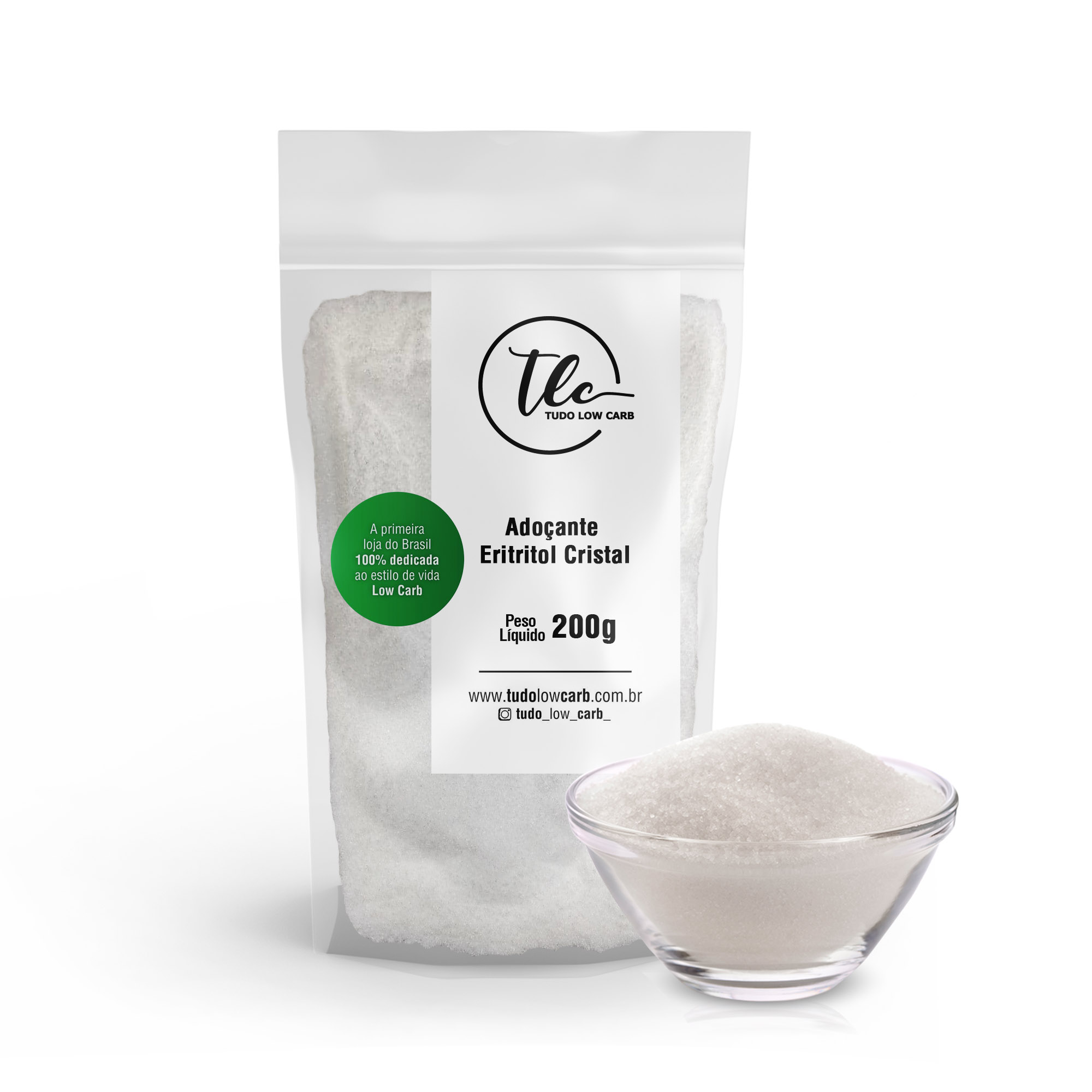 Adoçante Eritritol Cristal 200g  - TLC Tudo Low Carb